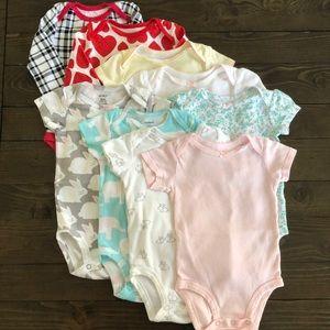 9pc! Carter's Baby Girl 6m onsie bundle